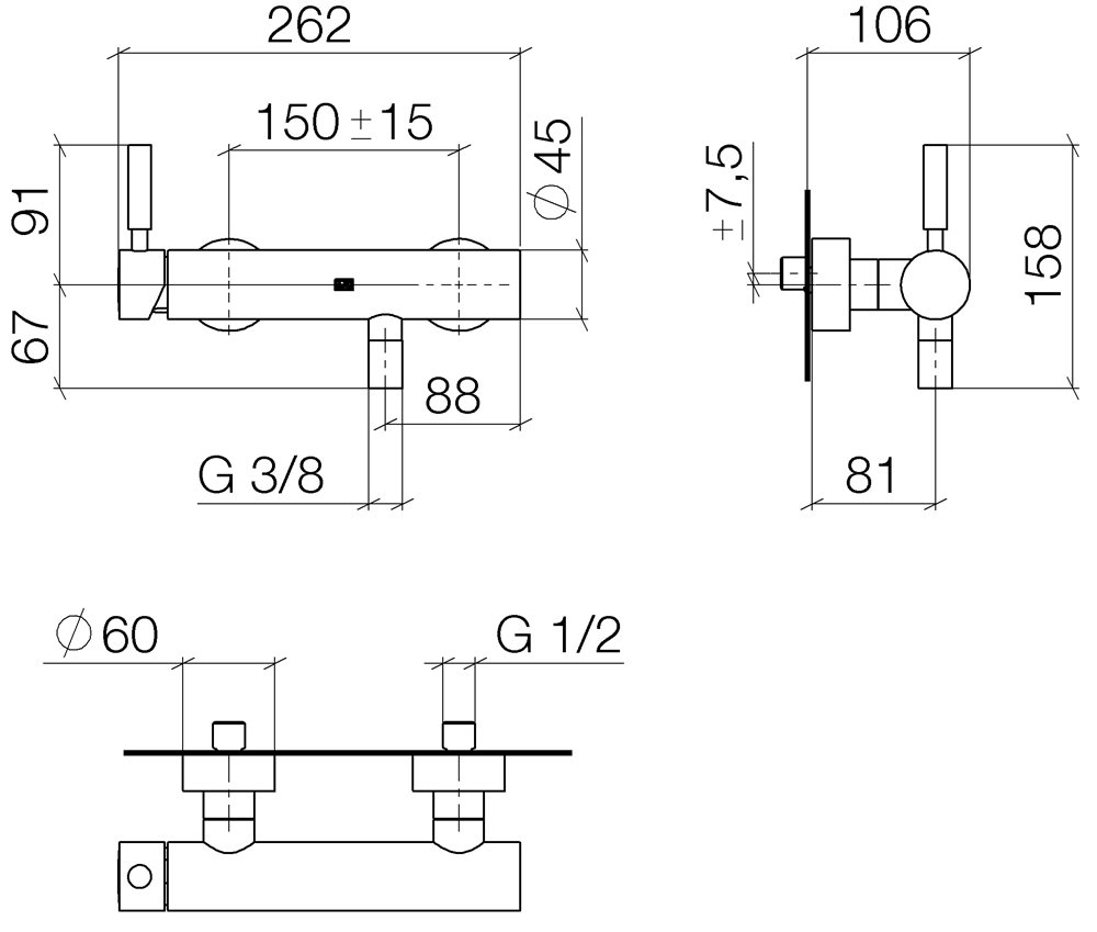 Meta02 Wall Mounted Single Lever Shower Mixer Set Dornbracht Schematic Engineering Diagram 1
